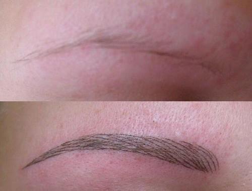Волосковый татуаж бровей фото до и после